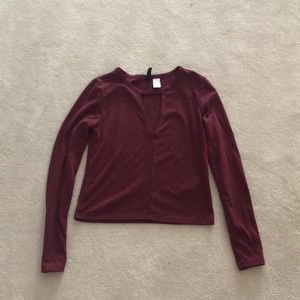 Maroon long sleeve going out top